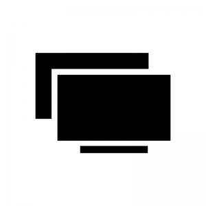 画面ミラーリングの白黒シルエットイラスト02