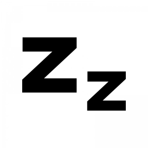 眠る・睡眠の白黒シルエットイラスト