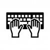 タッチタイピング(ブラインドタッチ)の白黒シルエットイラスト02