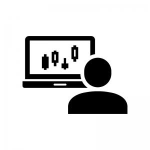 トレーダー・投資家の白黒シルエットイラスト