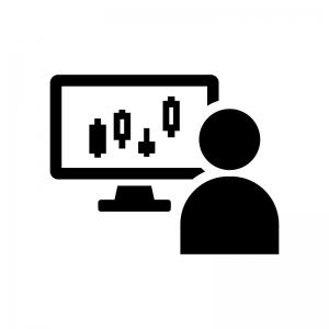 トレーダー・投資家の白黒シルエットイラスト02