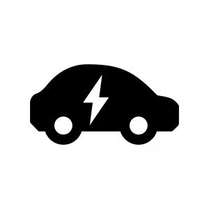 EV・電気自動車の白黒シルエットイラスト05