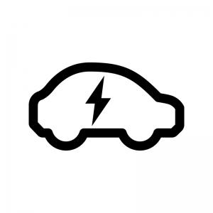 EV・電気自動車の白黒シルエットイラスト06
