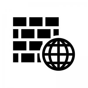 WAF(Webアプリケーションファイアウォール)の白黒シルエットイラスト