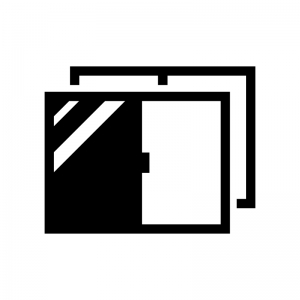 二重サッシ・二重窓の白黒シルエットイラスト