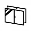 二重サッシ・二重窓の白黒シルエットイラスト02