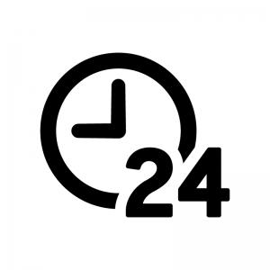 24時間サポートの白黒シルエットイラスト