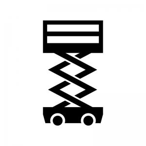 室内高所作業車の白黒シルエットイラスト