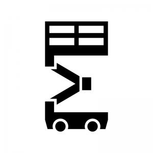 室内高所作業車の白黒シルエットイラスト03