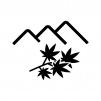 紅葉狩りの白黒シルエットイラスト