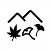 紅葉狩りの白黒シルエットイラスト02