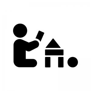 積み木で遊ぶ赤ちゃんの白黒シルエットイラスト