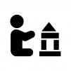 積み木で遊ぶ赤ちゃんの白黒シルエットイラスト02