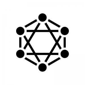 ブロックチェーンシステムの白黒シルエットイラスト