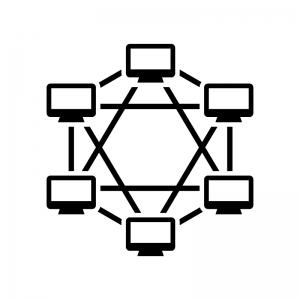 ブロックチェーンシステムの白黒シルエットイラスト02