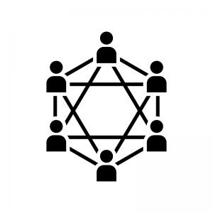 ブロックチェーンシステムの白黒シルエットイラスト03