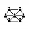 ブロックチェーンシステムの白黒シルエットイラスト04