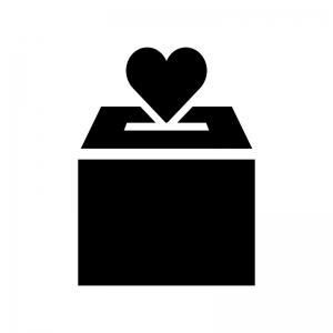 募金箱の白黒シルエットイラスト