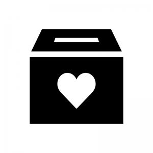 募金箱の白黒シルエットイラスト02