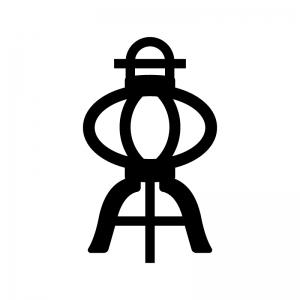 盆提灯の白黒シルエットイラスト02