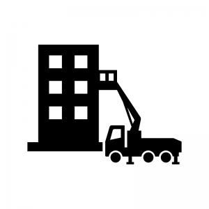 高所作業車とビルの白黒シルエットイラスト