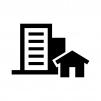 ビルと家の白黒シルエットイラスト02