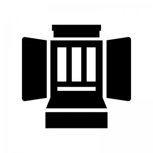 お仏壇の白黒シルエットイラスト02
