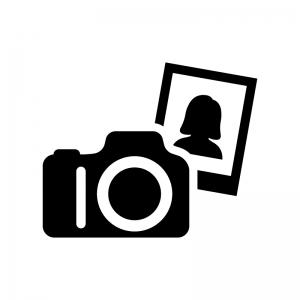 ポートレート写真の白黒シルエットイラスト