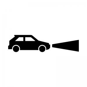 車のヘッドライト点灯の白黒シルエットイラスト
