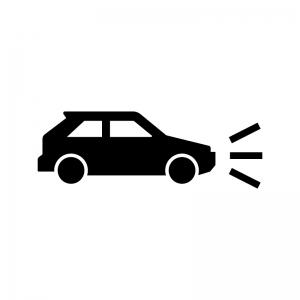 車のヘッドライト点灯の白黒シルエットイラスト02