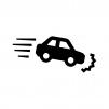 車の急ブレーキ・急停止の白黒シルエットイラスト素材