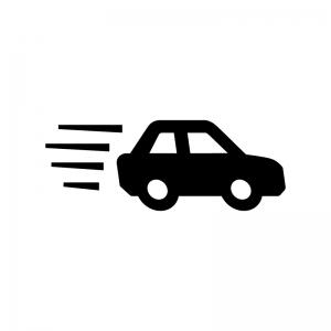 車の急発進・急加速の白黒シルエットイラスト