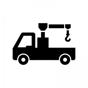 レッカー車の白黒シルエットイラスト