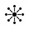 中央集権型システムの白黒シルエットイラスト