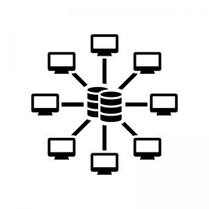 中央集権型システムの白黒シルエットイラスト02