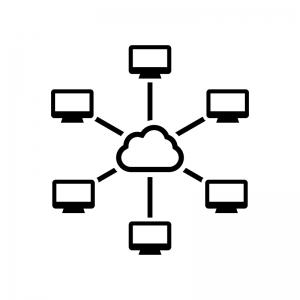 中央集権型システムの白黒シルエットイラスト04