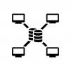 中央集権型システムの白黒シルエットイラスト06