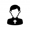 神父さんの白黒シルエットイラスト