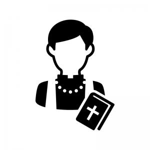 神父さんの白黒シルエットイラスト02