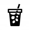 アイスコーヒーの白黒シルエットイラスト