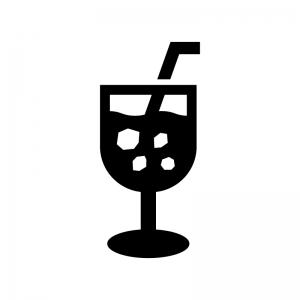 アイスコーヒーの白黒シルエットイラスト02
