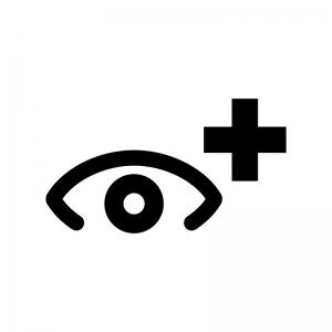 眼科(眼医者)の白黒シルエットイラスト
