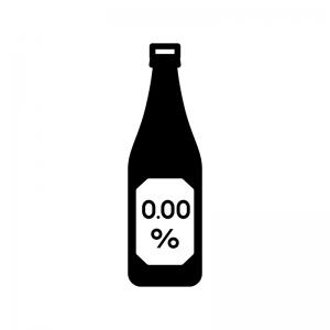 ノンアルコールビールの白黒シルエットイラスト03