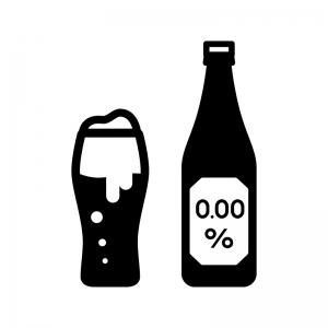 ノンアルコールビールの白黒シルエットイラスト04
