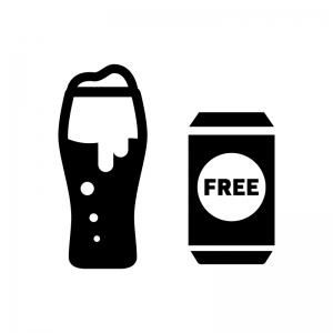 ノンアルコールビールの白黒シルエットイラスト02