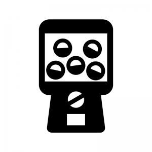ガチャガチャ(カプセル自動販売機)の白黒シルエットイラスト