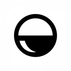 ガチャガチャ(カプセル自動販売機)のカプセルの白黒シルエットイラスト