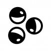 ガチャガチャ(カプセル自動販売機)のカプセルの白黒シルエットイラスト04