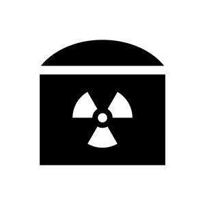 原子力発電の白黒シルエットイラスト02