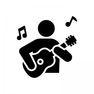 ギター演奏の白黒シルエットイラスト